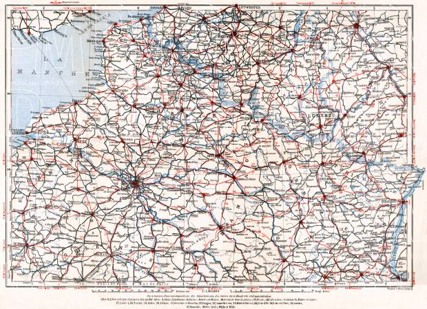 Detailed Road Map Of France.France Northern Part Motoring Road Map 1931