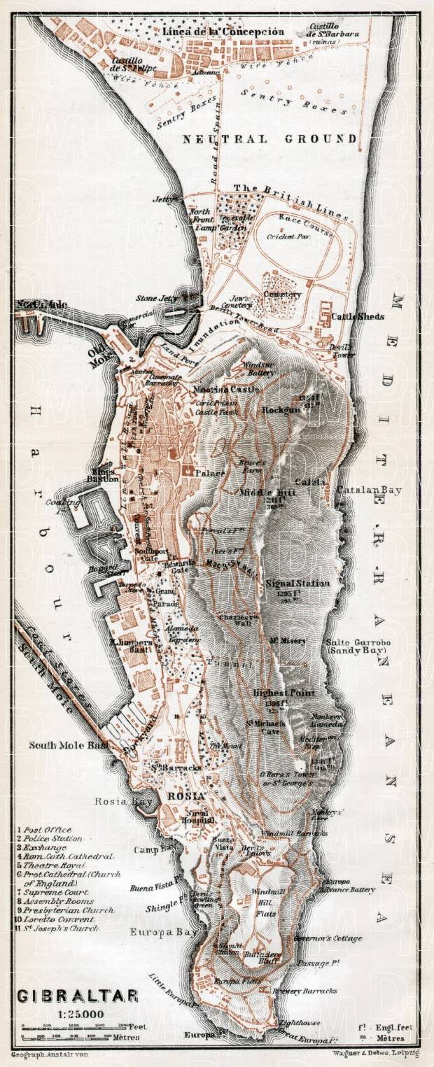 Gibraltar and environs map, 1913. Use the zooming tool to explore in higher level of detail. Obtain as a quality print or high resolution image
