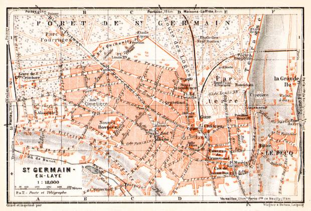 Saint-Germain-en-Laye city map, 1931. Use the zooming tool to explore in higher level of detail. Obtain as a quality print or high resolution image