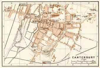 Canterbury city map, 1906