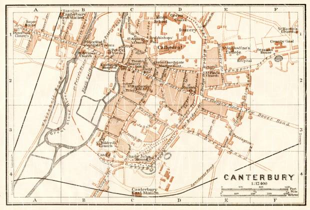 Old map of Canterbury in 1906 Buy vintage map replica poster print