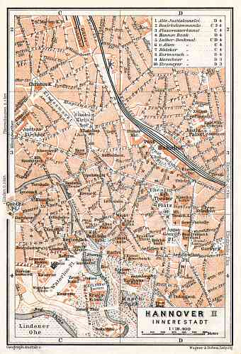 Hannover central part map, 1906