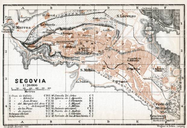 Old map of Segovia in 1913 Buy vintage map replica poster print or