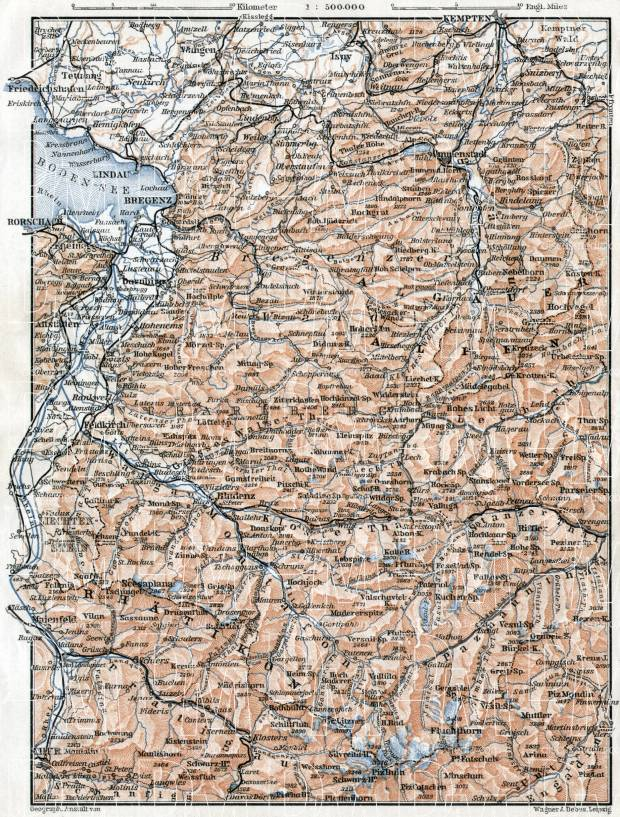 Vorarlberg and Forest of Bregenz (Bregenzer Wald) region map, 1910. Use the zooming tool to explore in higher level of detail. Obtain as a quality print or high resolution image