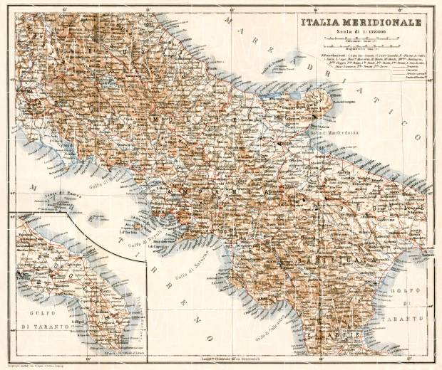 Map Of South Italy.Italy Southern Part Map 1912