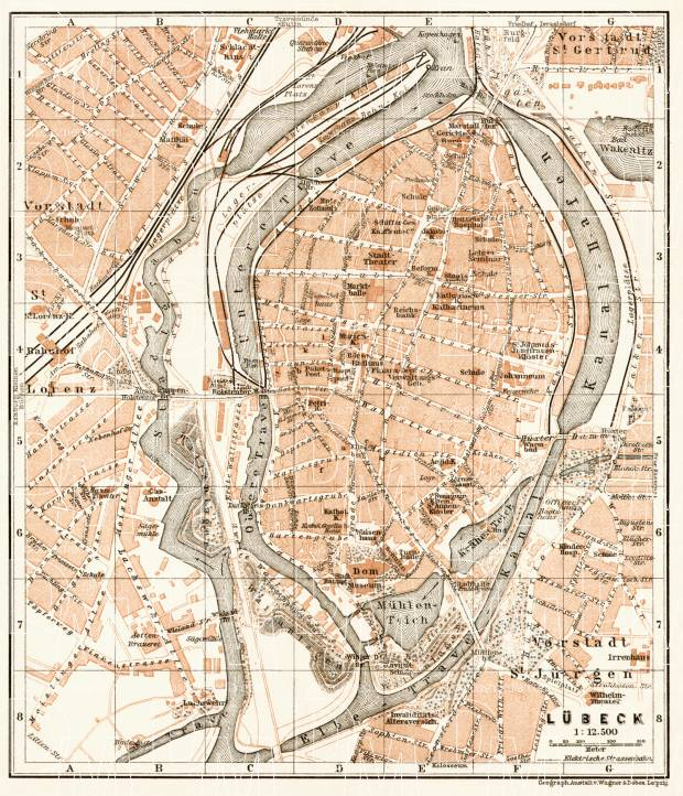 Lübeck city map, 1911. Use the zooming tool to explore in higher level of detail. Obtain as a quality print or high resolution image