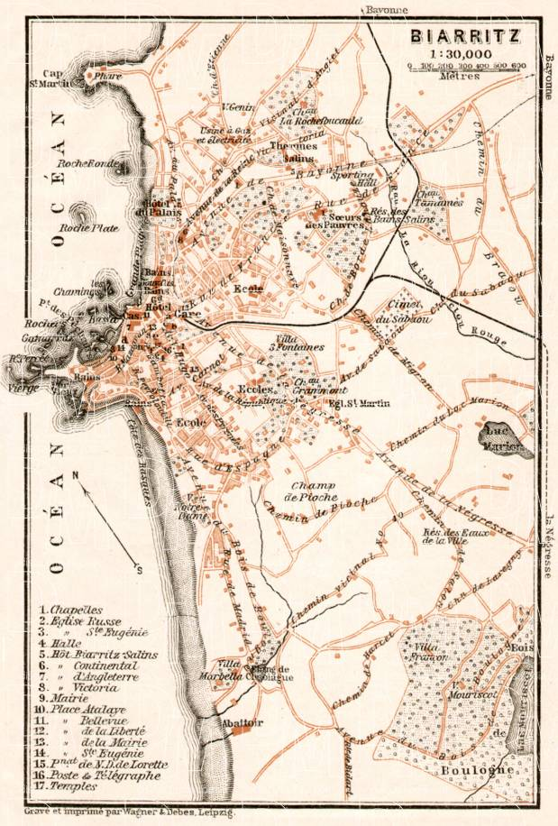 Biarritz city map, 1902. Use the zooming tool to explore in higher level of detail. Obtain as a quality print or high resolution image