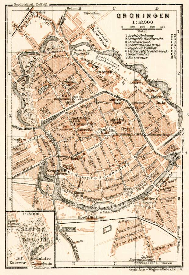 Groningen city map, 1909. Use the zooming tool to explore in higher level of detail. Obtain as a quality print or high resolution image