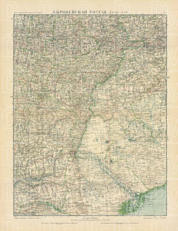 European Russia Map, Plate 11: Lower Vogla. 1910. Use the zooming tool to explore in higher level of detail. Obtain as a quality print or high resolution image
