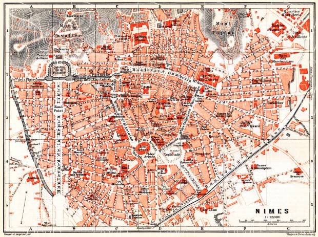 Nîmes city map, 1885. Use the zooming tool to explore in higher level of detail. Obtain as a quality print or high resolution image