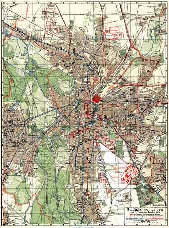 Leipzig city map, 1913