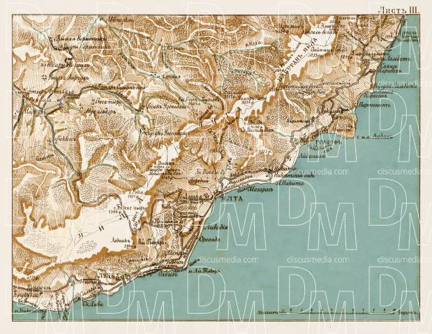 South Crimea: Alupka - Yalta region map, 1904. Use the zooming tool to explore in higher level of detail. Obtain as a quality print or high resolution image