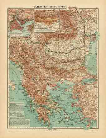 Balkan Peninsula Map (in Russian), 1910