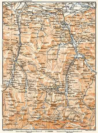 Aure and Luchon River valleys´ map, 1902