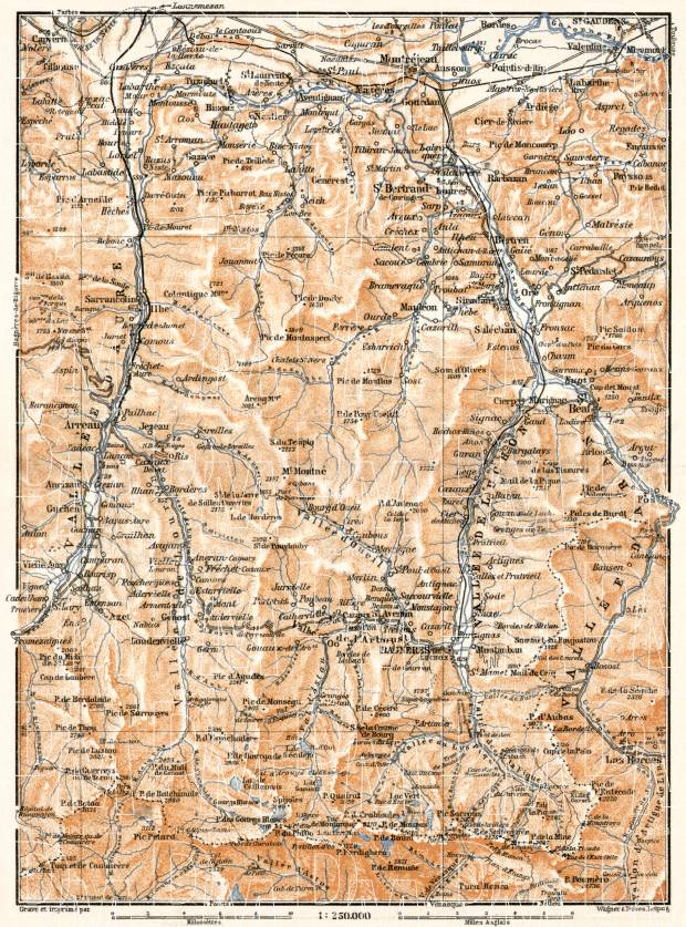 Aure and Luchon River valleys´ map, 1902. Use the zooming tool to explore in higher level of detail. Obtain as a quality print or high resolution image