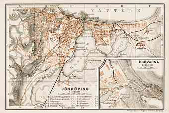 Jönköping city map, 1929. With Husqvarna plan inset