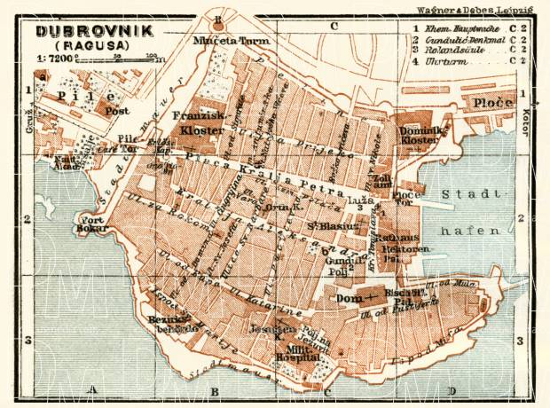 Ragusa (Dubrovnik) city map, 1929. Use the zooming tool to explore in higher level of detail. Obtain as a quality print or high resolution image