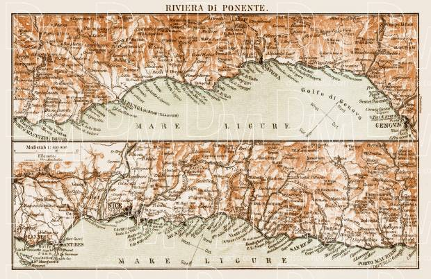 Map of the Riviera di Ponente, 1903. Use the zooming tool to explore in higher level of detail. Obtain as a quality print or high resolution image