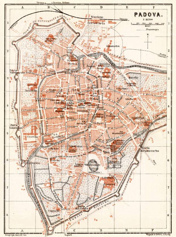 Padua (Padova) city map, 1898. Use the zooming tool to explore in higher level of detail. Obtain as a quality print or high resolution image