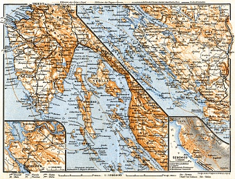 Istria and Dalmatian coast at Bossoglina (Marina). Sebenico (Šibenik) town plan and environs of map, 1911