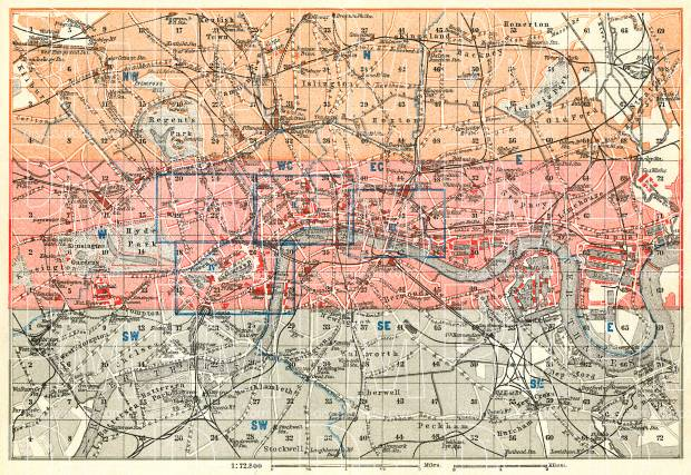 London, general map, 1909. Use the zooming tool to explore in higher level of detail. Obtain as a quality print or high resolution image