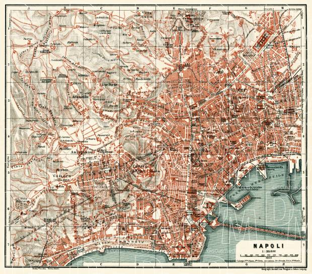 Naples (Napoli) city map, 1929. Use the zooming tool to explore in higher level of detail. Obtain as a quality print or high resolution image