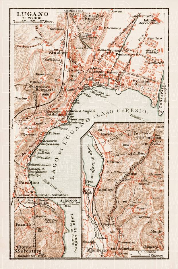 Old map of Lugano in 1903 Buy vintage map replica poster print or