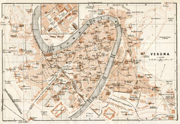 Verona city map, 1908. Use the zooming tool to explore in higher level of detail. Obtain as a quality print or high resolution image