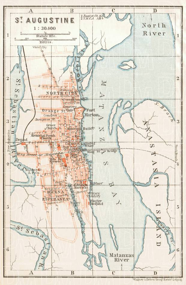 St. Augustine city map, 1909. Use the zooming tool to explore in higher level of detail. Obtain as a quality print or high resolution image