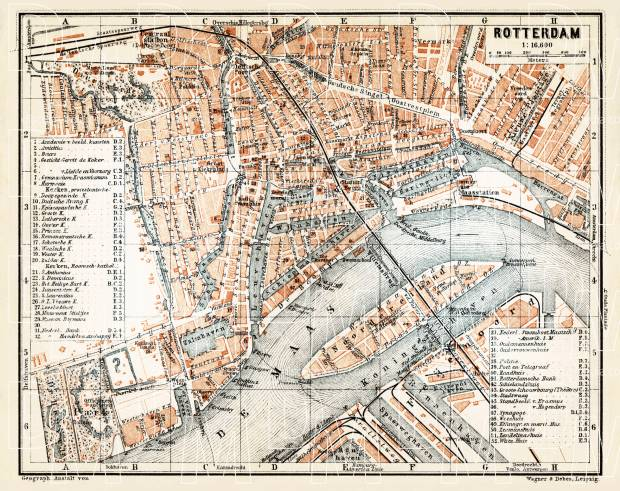 Rotterdam city map, 1904. Use the zooming tool to explore in higher level of detail. Obtain as a quality print or high resolution image