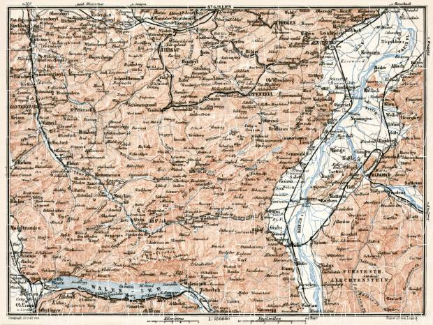 Map of Canton of Appenzell, 1909. Use the zooming tool to explore in higher level of detail. Obtain as a quality print or high resolution image