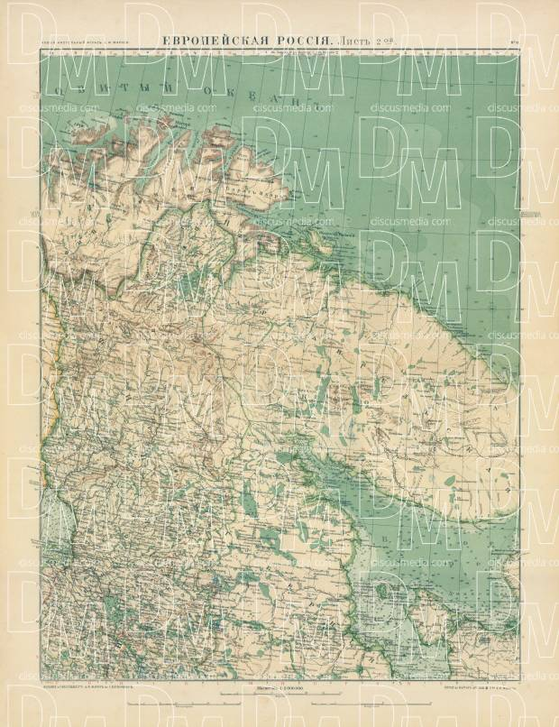 European Russia Map, Plate 2: Kola Peninsula. 1910. Use the zooming tool to explore in higher level of detail. Obtain as a quality print or high resolution image