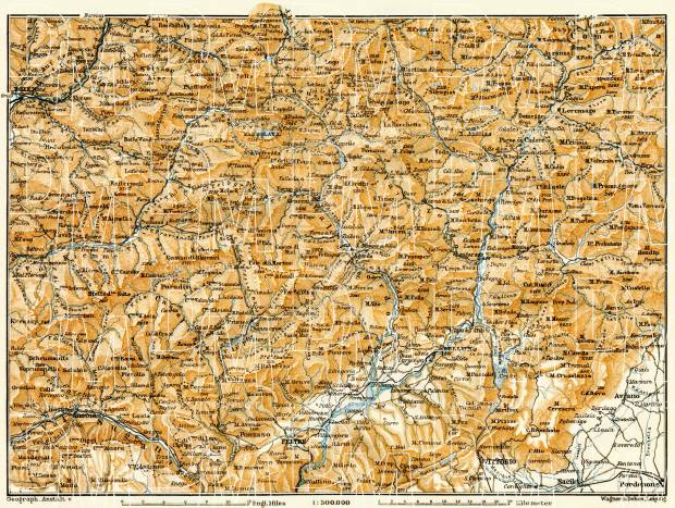 Map of the Dolomite Alps (Die Dolomiten) from Bolzano (Bozen) to Belluno, 1906. Use the zooming tool to explore in higher level of detail. Obtain as a quality print or high resolution image