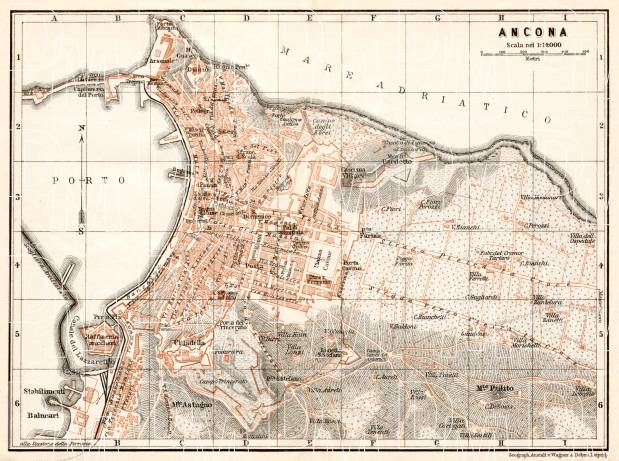 Ancona city map, 1909. Use the zooming tool to explore in higher level of detail. Obtain as a quality print or high resolution image