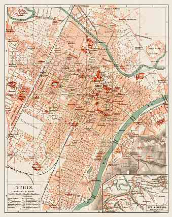 Turin (Torino) city map, 1903