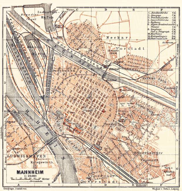 Map Of Germany Mannheim.Old Map Of Mannheim In 1905 Buy Vintage Map Replica Poster Print Or