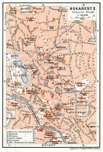 Bucharest (Bucureşti), central part map, 1913