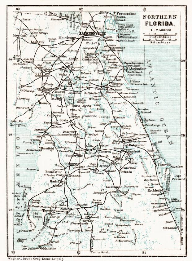 Northern Florida Map.Map Of The Northern Florida 1909