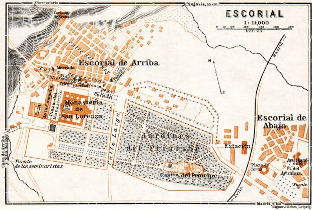 Escorial de Arriba town plan, 1929. Use the zooming tool to explore in higher level of detail. Obtain as a quality print or high resolution image