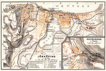 Jönköping city map, 1910. With Husqvarna plan inset