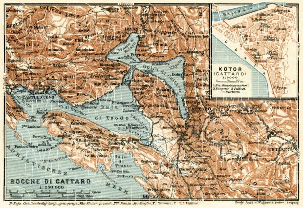 Map of the Gulf of Kotor (Boka Kotorska) and Cattaro (Kotor) town plan, 1929. Use the zooming tool to explore in higher level of detail. Obtain as a quality print or high resolution image