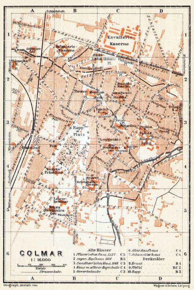 Old map of Colmar in 1906 Buy vintage map replica poster print or