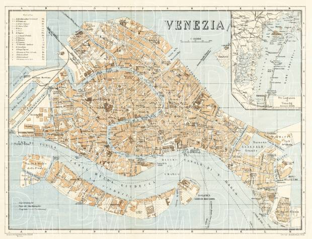 Venice city map, 1929. Use the zooming tool to explore in higher level of detail. Obtain as a quality print or high resolution image