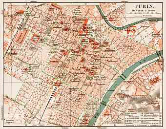 Turin (Torino), city centre map, 1913
