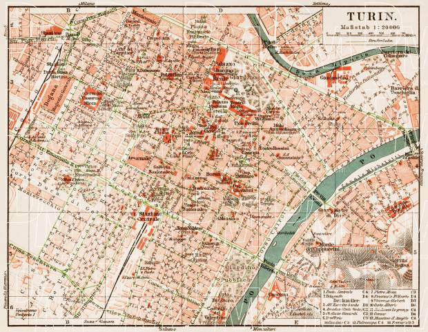Old Map Of Torino Turin Center In 1913 Buy Vintage Map Replica