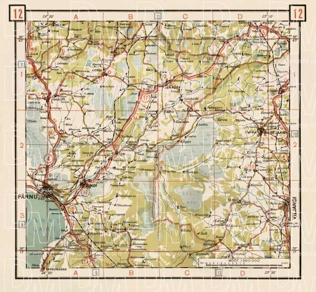 Estonian Road Map, Plate 12: Vandra. 1938. Use the zooming tool to explore in higher level of detail. Obtain as a quality print or high resolution image