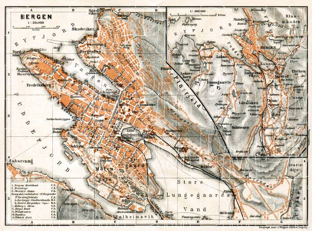 Old map of Bergen in 1910 Buy vintage map replica poster print or