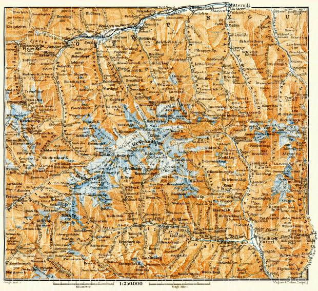 Upper Pinzgau (Oberpinzgau) map, 1906. Use the zooming tool to explore in higher level of detail. Obtain as a quality print or high resolution image