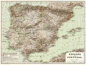 Spain on the general map of the Iberian peninsula (Spain and Portugal General Map), 1899