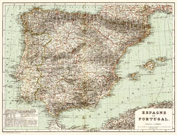 Spain on the general map of the Iberian peninsula (Spain and Portugal General Map), 1899. Use the zooming tool to explore in higher level of detail. Obtain as a quality print or high resolution image